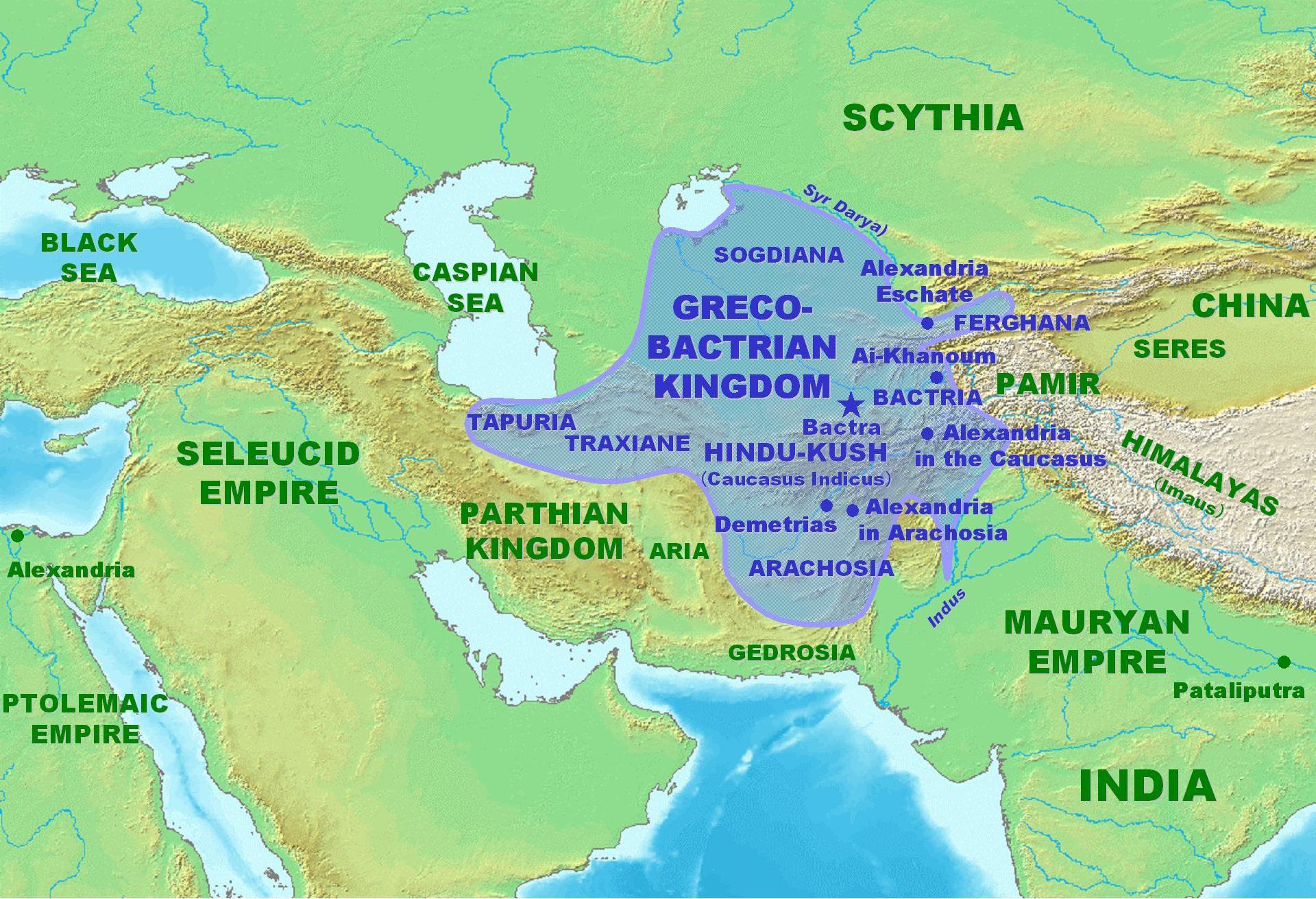 Mapa del Reino grecobactriano con ciudades como Alejandria Escate.