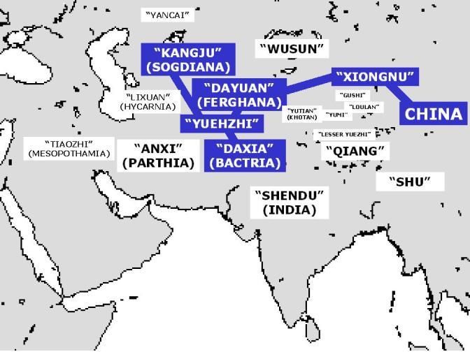 """Mapa con antiguos nombres chinos de los pueblos, como""""Dayuan"""" (griegos) y """"Wusun"""" (tocarios)."""